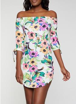 Floral Off the Shoulder Tie Sleeve Dress - 1094073375662