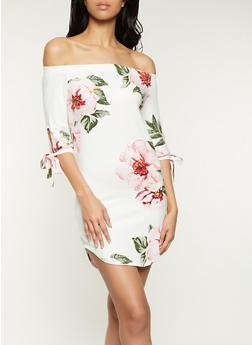 Floral Tie Sleeve Off the Shoulder Dress - 1094073375663