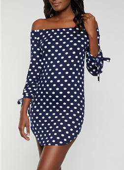 Polka Dot Tie Sleeve Off the Shoulder Dress - 1094073375666