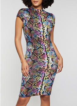 Multi Color Snake Print T Shirt Dress - 1094073375712