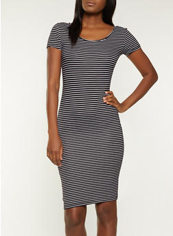 Striped Scoop Neck T Shirt Dress - 1094073375713