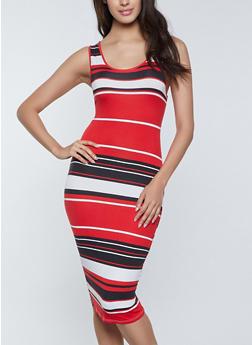 Striped Midi Tank Dress - 1094073376120