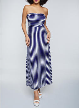 Striped Strapless Maxi Dress - 1094073377200