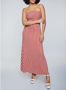 Striped Strapless Maxi Dress - 1094073377200