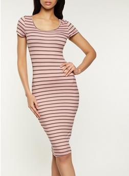Horizontal Stripe T Shirt Dress - 1094073378713