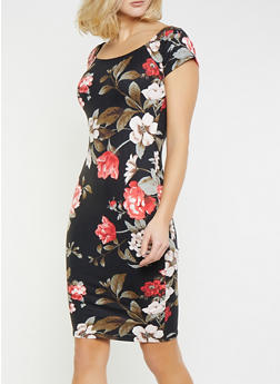 Soft Knit Floral Bodycon Dress - 1094074011013