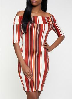 Striped Off the Shoulder Dress - 1094074011014