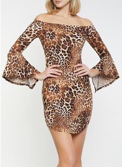 Leopard Off the Shoulder Dress - 1094074011015