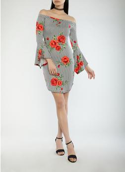 Rose Striped Off the Shoulder Dress - 1094074012022