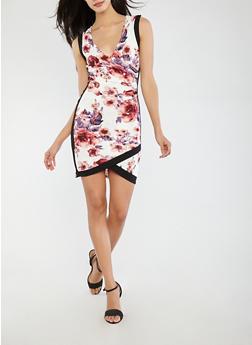 Floral Faux Wrap Bodycon Dress - 1094074012027