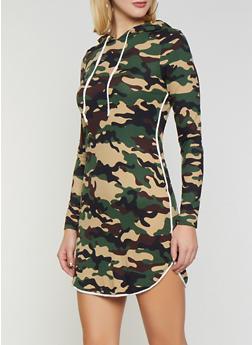 Hooded Camo T Shirt Dress - 1094074280524