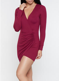 Faux Wrap Bodycon Dress - 1094074280528