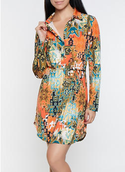 Printed Shirt Dress - 1094074280535