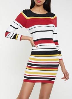 Striped Long Sleeve Sweater Dress - 1094074280536