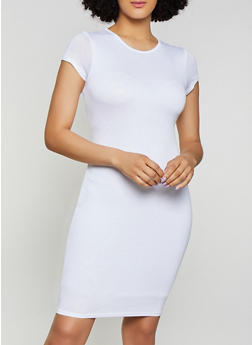 Solid Bodycon T Shirt Dress - 1094074281176