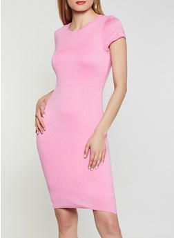 Solid Bodycon T Shirt Dress - 1094074281176