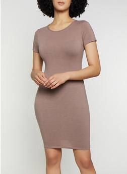Solid T Shirt Dress   1094074282510 - 1094074282510