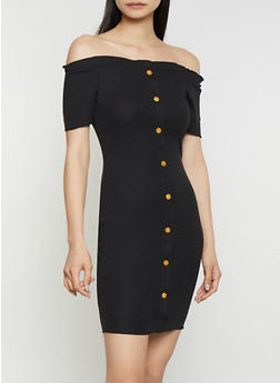Ribbed Wooden Button Off the Shoulder Dress - 1094074282512