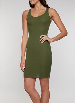 Ribbed Knit Solid Tank Dress - 1094074282514