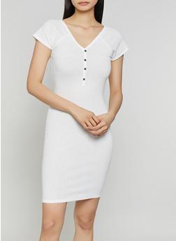 Ribbed Half Button Bodycon Dress - 1094074282515