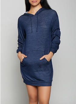 Denim Knit Sweatshirt Dress - 1094074282806