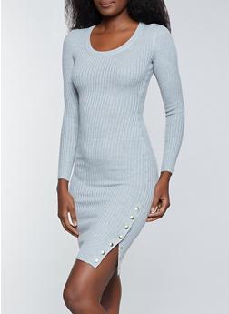 Long Sleeve Ribbed Knit Sweater Dress - 1094075170017