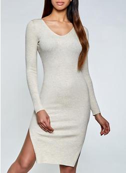 Rib Knit Side Slit Sweater Dress - 1094075170057