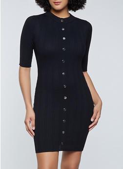 Snap Button Detail Rib Knit Dress - 1094075170117