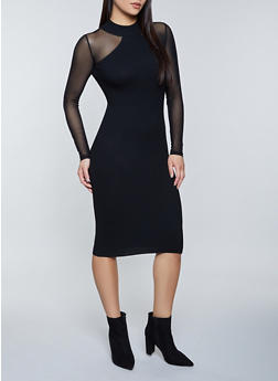 Mesh Sleeve Sweater Dress - 1094075170216