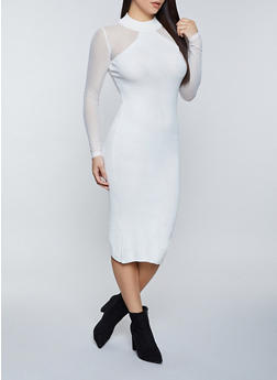 Mesh Sleeve Sweater Dress - 1094075170216