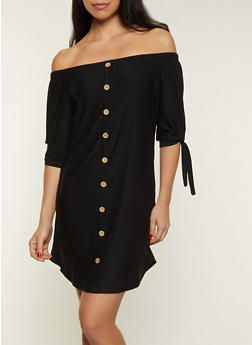 Off the Shoulder Tie Sleeve Button Dress - 1094075170354
