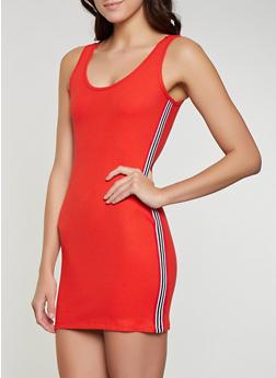 Rainbow Tape Trim Rib Knit Tank Dress - 1094075171004