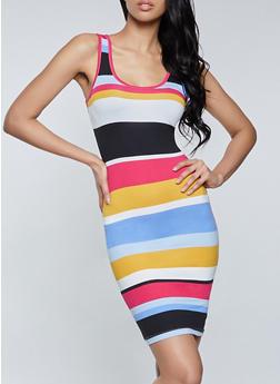 Striped Double Scoop Tank Dress - 1094075171048
