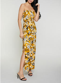 Smocked Tube Floral Maxi Dress - 1094075171122