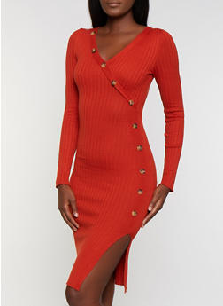 Asymmetrical Button Detail Sweater Dress - 1094075172074