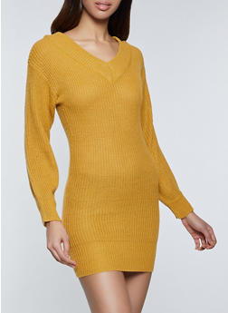 V Neck Sweater Dress - 1094075172089