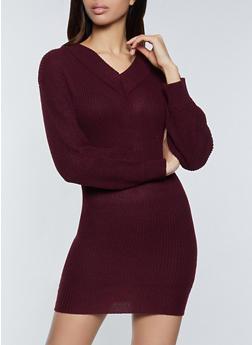 V Neck Sweater Dress - 1094075172089