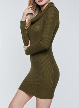 Long Sleeve Cowl Neck Sweater Dress - 1094075172092