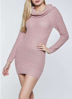 Long Sleeve Cowl Neck Sweater Dress - 1094075172092