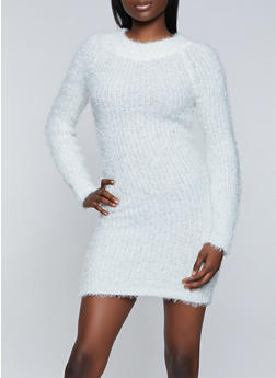 Eyelash Knit Sweater Dress - 1094075172104