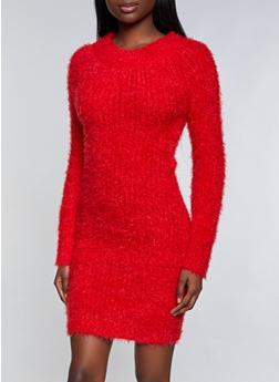 Eyelash Knit Sweater Dress - 1094075172104