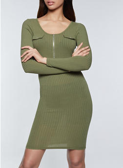Half Zip Ribbed Bodycon Dress - 1094075173047