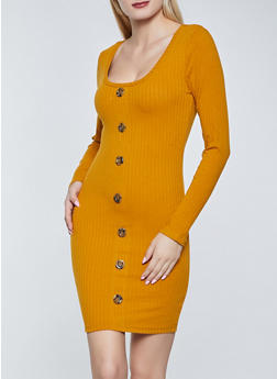 Rib Knit Button Detail Bodycon Dress - 1094075173059