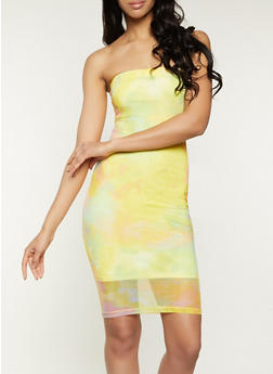 Tie Dye Mesh Tube Dress - 1094075173174