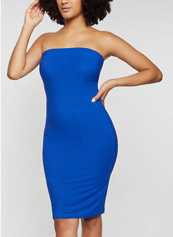 Solid Midi Tube Dress - 1094075173260