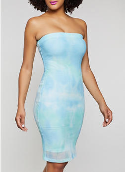 Mesh Tie Dye Tube Dress - 1094075173302