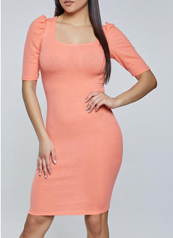 Puff Sleeve Ribbed Bodycon Dress - 1094075173312