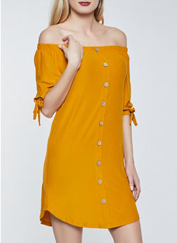 Off the Shoulder Button Detail Dress - 1094075174054