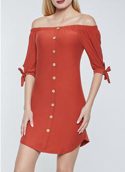 Off the Shoulder Button Detail Dress - 1094075174054