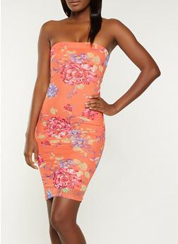 Mesh Floral Tube Dress - 1094075174174